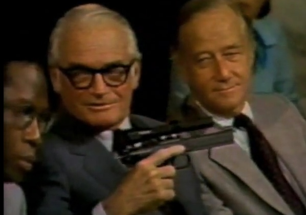 Barry Goldwater holding the CIA heart-attack gun
